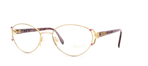 chopard-c028-6061-gold-red-round-certified-vintage-eyeglasses-frame-for-womens