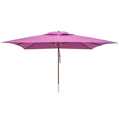 anndora® Sonnenschirm 3 x 4 m eckig Terassenschirm Holz Gestänge - Lila Purple