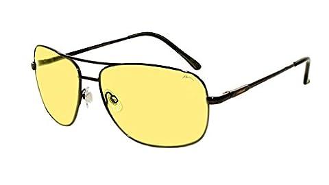 Lunettes de soleil Homme (Taille XL) Sando RELAX/R1127C (Gun / Jaune Conduite Nuit R1127C)