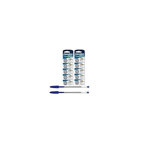 10 Stück Camelion Knopfzelle Lithium Batterie CR2032 3V k + 2x Kugelschreiber gratis - für Pulsgurte und Watt Messnaben geeignet CR