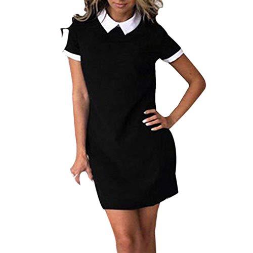 Fighting Frauen Büro White Collar Hemd Kleid-Sommer-Kurzschluss-Hülsen-Patchwork-Kleid