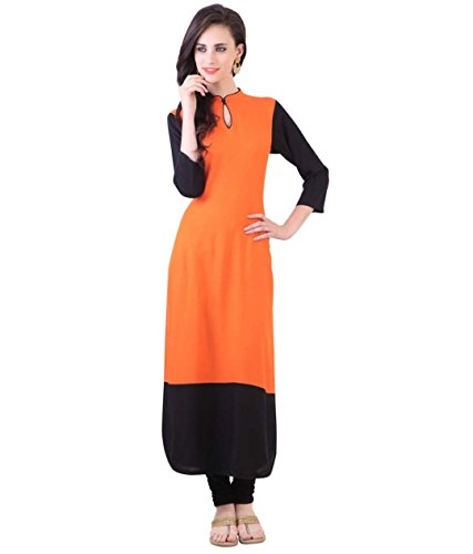 Fusion Multicolor Cap Half Long Short Sleeve Sleeveless Kurtis Kaftan for Girls (GT-KTR-OBL-XXL)