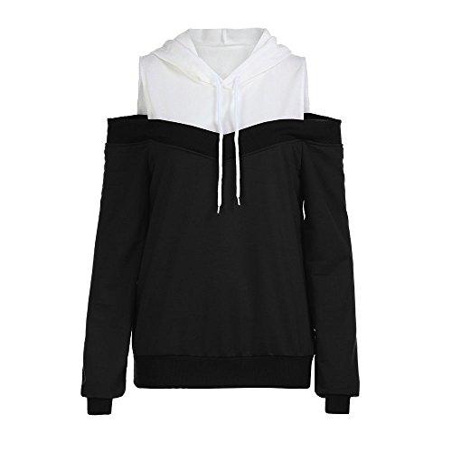 Xmiral Damen Hoodie Herbst Off Schulter Langarm Sweatshirt Frauen Baumwolle mit Kapuze Pullover Tops Bluse (L,Schwarz) -