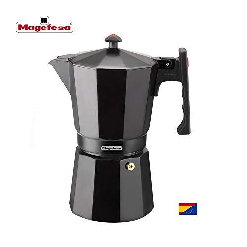 MAGEFESA Colombia - La cafetera MAGEFESA Colombia está Fabricada en Aluminio Extra Grueso. Pomo y Mangos ergonómicos de bakelita Toque Frio. (Negro, 12 Tazas)