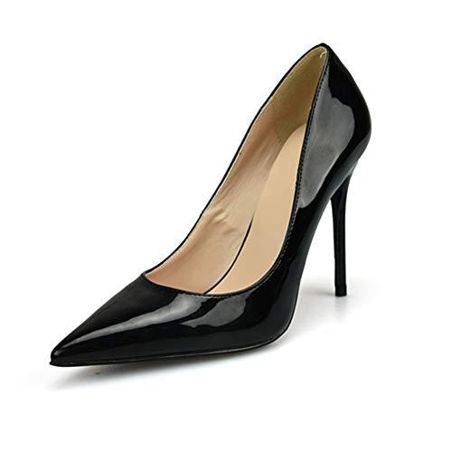Schuhe Mode Lady Spitzschuh Pumps D'Orsay für Damen Lack Mikrofaser Leder High Stiletto Heels Cocktailparty-Kleid Schuhe: Spitz, Klassische Slip-On-Pumps ( Color : Black 8 cm Heel , Size : 40 EU ) (Mikrofaser-slip Klassische)