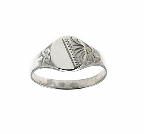 Sterling Silver Child's Half Engraved Signet Ring ( Size G to K ) Made to order in the Birmingham Jewellery Quarter