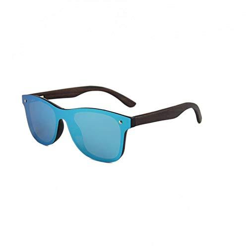 Zbertx Holz Bambus Sonnenbrille Männer Frauen Spiegel Uv400 Sonnenbrille Echtholz Beine Sunglases,Blau