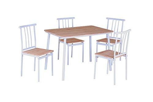 Mr IRONSTONE® 5 Teilig Esstisch Stuhl Set Essgruppe Tischgruppe Esstischgruppe Sitzgruppe Esszimmergarnitur aus 1 Esstisch + 4 Stühle, Weiß & Grau Furnier