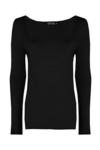 Noir Femmes Ria Basic Square Neck Long Sleeve Top Noir