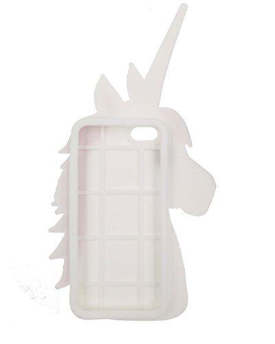 iPhone 4 / 4S Custodia, BENKER 3D Cartone Animato Morbido Silicone Gel Antiurti Copertura Telefono Caso - Rainbow Unicorn Bianco Unicorno