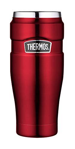 THERMOS 4002.248.047 Coffee-to-Go Thermobecher Stainless King, Edelstahl Cranberry 0,47 l, 7 Stunden heiß, 18 Stunden kalt, BPA-Free - Stainless 7