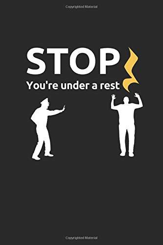 Stop You\'re Under A Rest: Lustiges Notenheft für alle angehenden Musiker. 100 Seiten Notenpapier DinA5 ohne Hilfslinien. Lineatur 14