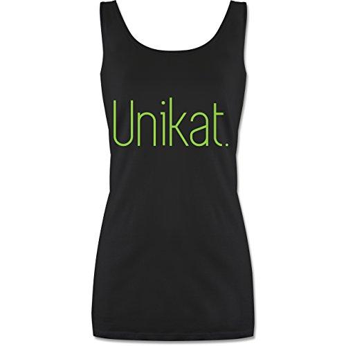 Statement Shirts - Unikat - lang-geschnittenes Tanktop für Damen Schwarz