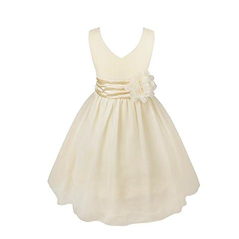 FEESHOW Mädchen Kleid mit einer 3D Blumen seitlich Sommerkleid Festzug Partykleid Ärmellos Kleid V-Auscchnitt Chiffonkleid Creme
