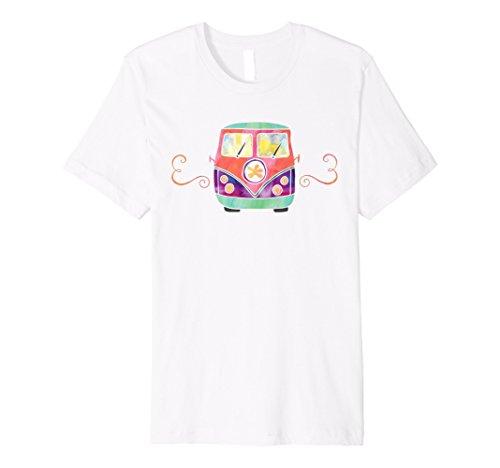 Cute Pink Hippie Camper Van Watercolor Summer Fun T Shirt
