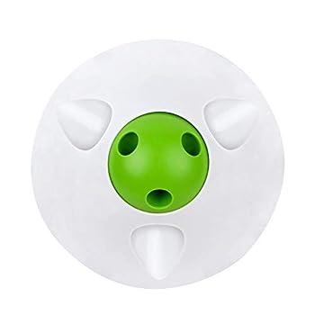 Bwiv Gamelle Chien Chat Anti-glouton Multifonctionnelle en Forme de Flying Saucer Distributeur de Croquettes pour Animal de Compagnie Blanc/Vert