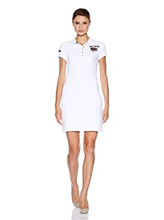 HIP WAY - Robe - Col Polo - Manches Courtes - Femme Blanc blanc Small