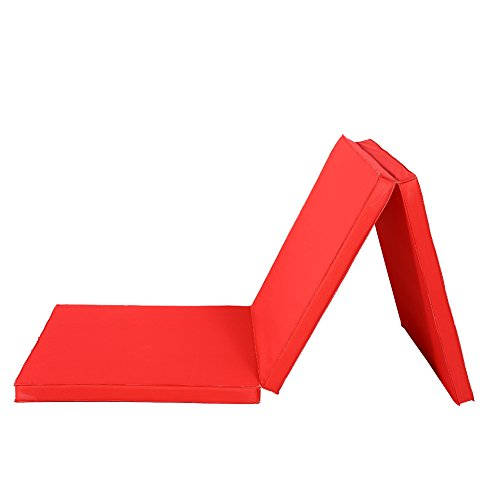 Triple Plegable Ejercicio Yoga Gimnasia Alfombrilla, 6 ft Grande Plegable Ejercicio Mat 5 cm de Grosor Estiramiento Yoga Mat con Cosido Asas para Gimnasio Crash Secadora Pista Yoga Pilates (Rojo)