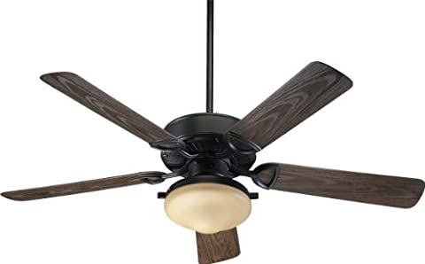 Quorum International 1435259395 Estate 2-Light Patio Ceiling Fan with Amber Scavo Glass Light Kit and Walnut ABS Blades, 52-Inch, Old World Finish by Quorum International