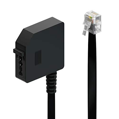 deleyCON 0,2m Telefon Adapter RJ11 Stecker 6P4C auf TAE-F Buchse Flachkabel Telefonadapter Adapterkabel Telefon Router Schwarz -