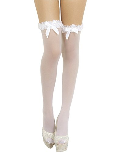 iB-iP Damen Mesh nahtlose stilvolle schiere Schenkel Hoch Halterlose Strümpfe, Größe: Einheitsgröße, Weiß -