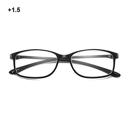 Lesebrille Anti-Blaulicht Männer und Frauen, Ultraleichte HD-Brille für ältere Menschen, Stylish Comfortable, Schwarz (+ 1,5, 2,5, 3,0)