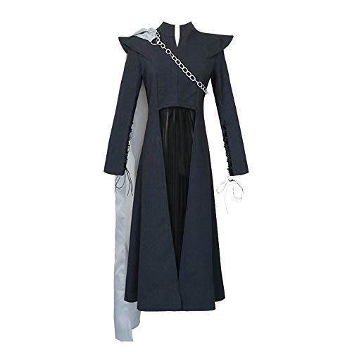 Daenerys Targaryen Traje de Cosplay Traje Vestido de Manga Larga Negro para Mujer Fiesta de Cosplay Reina Traje Cadena con Peluca