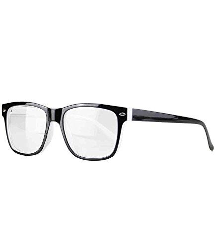 Caripe Herren Damen Retro Nerd Vintage Lesebrille Lesehilfe + Brillen-Etui- M33 (+ 1,0 dpt - schwarz-weiß)