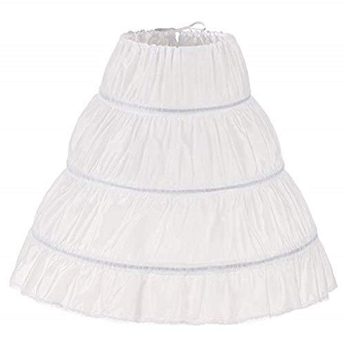 "MEITEMEI Kinder Reifrock A Linie 3 Ringe Petticoat Unterrock Mädchen Lang Prinzessin Kleid Halb Slip (2-6 Yrs,Length 21.65"", Weiß)"