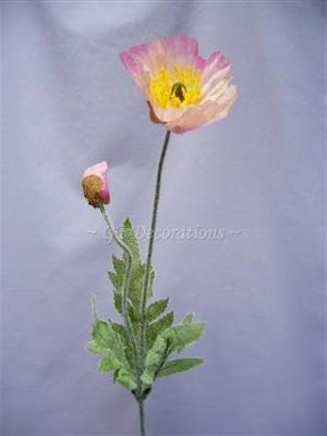 6fiori artificiali Iceland Poppy W/Bud spruzza da GT Decorazioni Pink