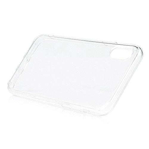 MAXFE.CO TPU Silikon Hülle für iPhone X Handyhülle Schale Etui Protective Case Cover Rück mit Einfarbig Skin TPU Kantenschutz Verdicken 1.22 MM Schutzhülle Rose Rot Transparent