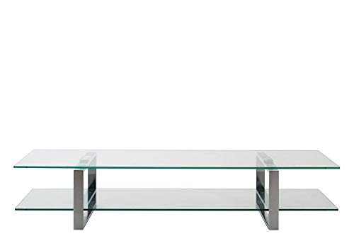 PKline TV Kay Tisch Glas klar Chrom Fernsehtisch Sideboard Lowboard Fernsehschrank - Kinder-tv-tisch