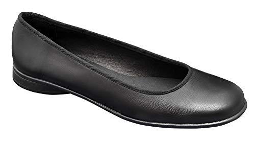 Zapato Tipo Bailarina Mujer Uniformes en Piel Color Negro, Marca DIAN - bailarina-23 38 EU, Negro