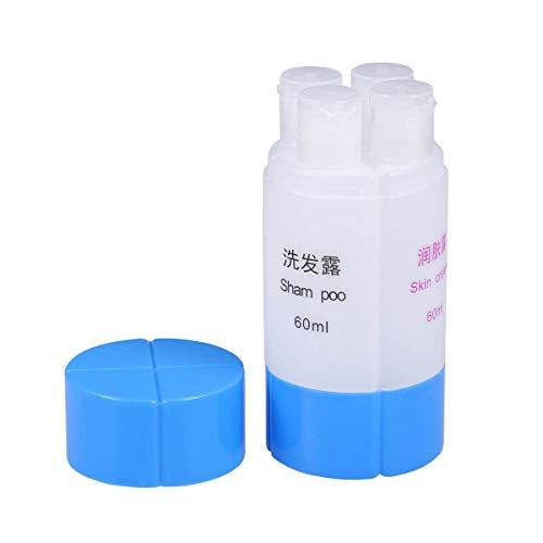 Lurrose 60 ml 4-in-1 reiselotion pumpe Flasche nachfüllbar pumpenspender leer auslaufsicher Rohr für Shampoo Lotion seife (blau)