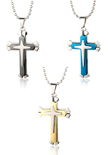 halukakah-just-a-cross-mens-titanium-steel-double-layer-cross-pendant-necklace-blue-gold-black-with-