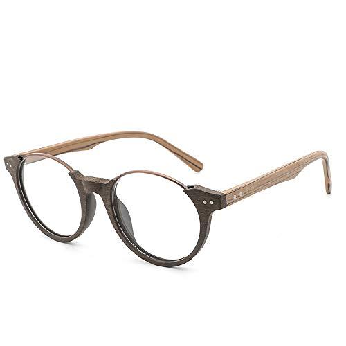Herren Sonnenbrillen Retro Augenbraue geformt Rahmen Holzmaserung Runde Brillengestell Persönlichkeit Brillengestell LTJHJD (Color : 05Brown, Size : Kostenlos)
