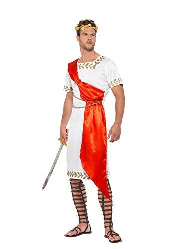Männer römischer Senator Kostüm mit Toga, Gürtel und Kopfschmuck, perfekt für Karneval, Fasching und Fastnacht, XL, Weiß ()
