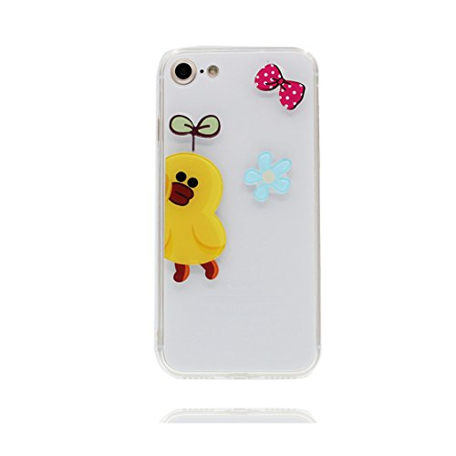 Custodia iPhone 7, Case TPU 3D Durable Cute Shockproof Copertura per iPhone 7 ( 4.7 ) Cover Shell Soft TPU / anatra duck ( bianca ) bianca 3