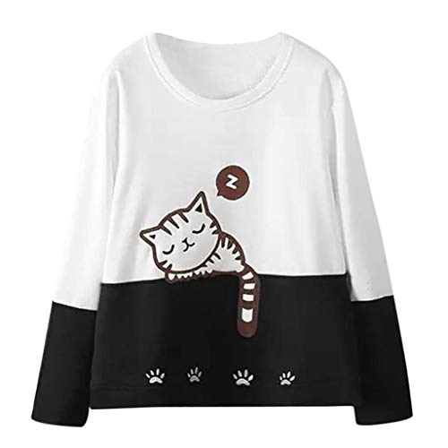 (TWIFER Damen Herbst Langarm Katze Stickerei Sweatshirt Pullover Tops Bluse)