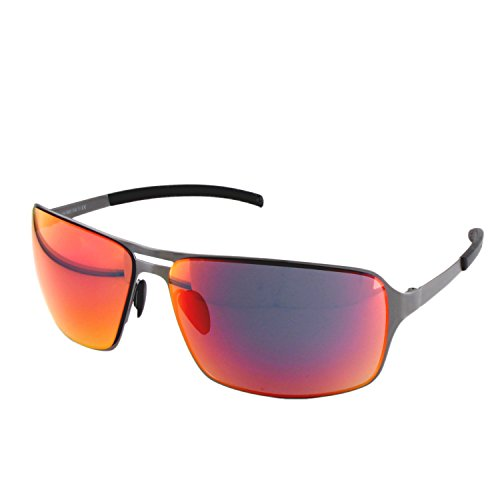 ActiveSol HYPERION Sonnenbrille Herren | anthrazit/braun/schwarz | verspiegelt/un-verspiegelt | UV-400 Schutz | Metall-Gestell (anthracite with red mirror lenses)