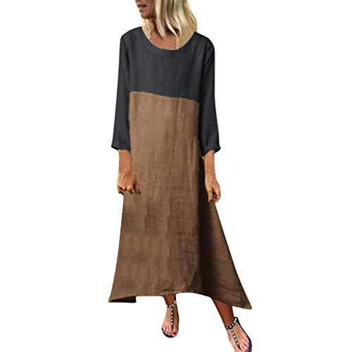 AIni Femmes Robe Jupe-Plus Size Casual LâChe Manches Longues Dame Solide Splice Lin Long Maxi-Casual Clubbing Cocktail SoiréE-Robe Boheme Femme Mariage