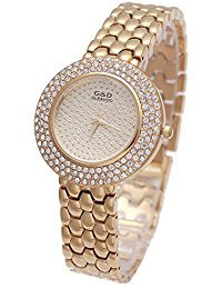 Sheli Iced Out Bling Yellow Gold Analog Quartz Bracelet Watch for Women Dress Daily Wear, 34mm