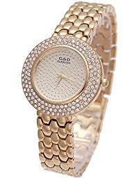 Sheli Gefroren Bling Gelbgold Analog Quarz Armbanduhr für Frauen Damen Kleid Täglich Tragen, (Erwachsene Kleider Gefrorene Für)