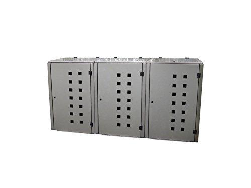 Mülltonnenbox Edelstahl, Modell Eleganza Quad11, 240 Liter als Dreierbox