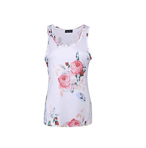Pareos & Strandkleider für Damen 2 STÜCKE Slim Fit Hemd Sommer Casual Print Weste Slim Sleeve Bottoming Hemd Casual Print Weste, Weiß, XL -