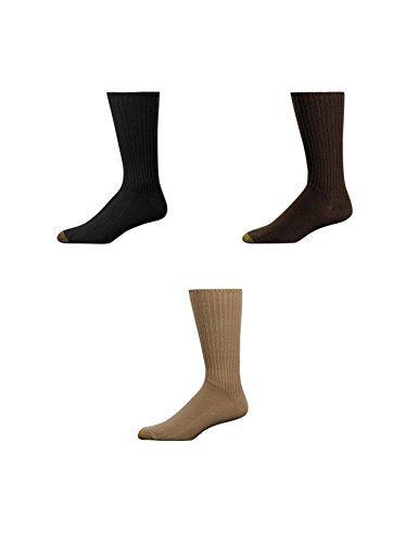 Gold Toe Crew-Socken für Herren, besonders weich, 3 Paar Gr. Einheitsgröße, Black, Brown, Khaki -
