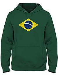 Green Turtle T-Shirts Drapeau du Brésil Sweatshirt Capuche Homme 54290f8cbbd