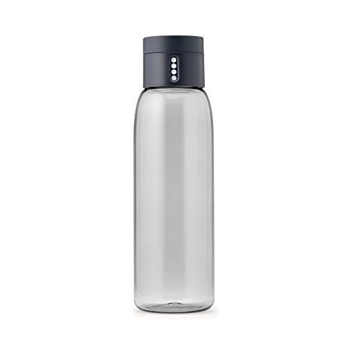 Joseph Joseph Dot - Trinkkontrol Wasserflasche 600ml, Kunststoff, grau