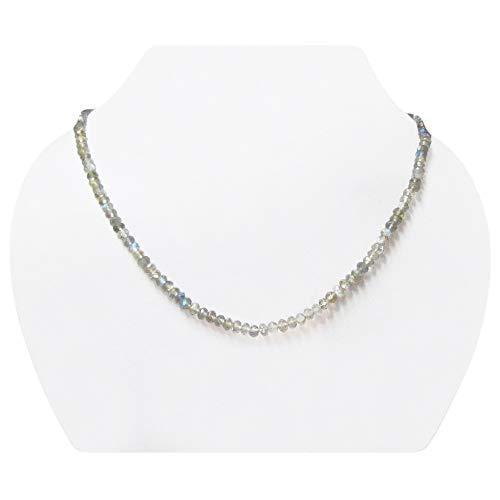 Guild Kostüm Designer - Handgemachte natürliche Labradorite Rondelle facettierte Perlen Halskette Strand mit 925 Sterling Silber Erkenntnisse 16