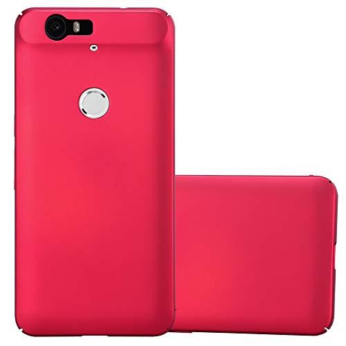 Cadorabo Hülle für Huawei Nexus 6P - Hülle in Metall ROT – Hardcase Handyhülle im Matt Metal Design - Schutzhülle Bumper Back Case Cover